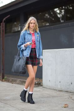 Nothing screams fall quite like a schoolgirl-inspired plaid mini. Wear it with a logo tee, slouchy jean jacket and chunky lace-up boots for a edgy grunge vibe.