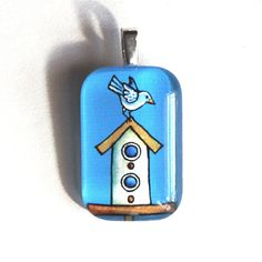 Whimsical Birdhouse Glass Pendant with Blue Bird, Jewelry by Susan Faye on Etsy, $14.00