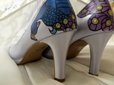 Wedding Shoes Plum lilac and sage painted peacock by norakaren, $225.00