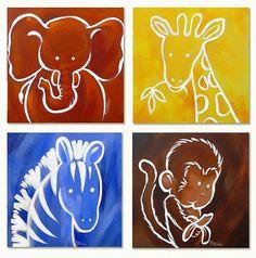 Baby Room Diy, Baby Boy Room Decor, Baby Boy Rooms, Diy Baby, Kids Rooms, Baby Room Paintings, Baby Painting, Animal Paintings, Nursery Canvas