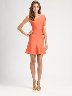 Herve Leger Asymmetrical Bandage Dress -- don't like the color