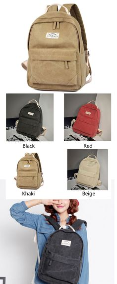 70e46afb8272 A Simple Khaki Solid Pure Color School Bag College Canvas Backpack. Nice  gift for my