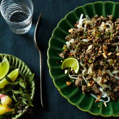 I would rather serve it with rice on the side, no pasta. Thai-style Beef Salad over Angel-Hair Pasta | Food & Wine