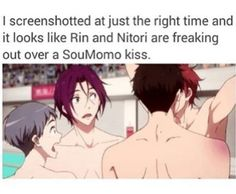 Soumomo kiss, Sousuke Momotarou, Rin and Nitori Momotarou Mikoshiba, Makoharu, Haikyuu, Servamp Anime, Splash Free, Free Eternal Summer, Free Iwatobi Swim Club, Free Anime, Swim Team
