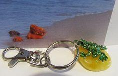 100% Natural Baltic amber yellow Frog charm keys 12.5 gr. landscape unisex steel #Unbranded
