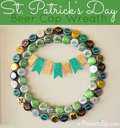 Celebrate St. Patrick's Day with this festive Beer Cap Wreath