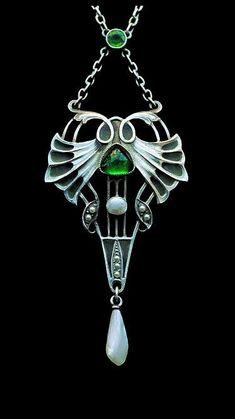 CARL HERMANN | Jugendstil Pendant.  Silver, Plique-à-jour enamel, Chalcedony, Pearl.  German, c.1900.