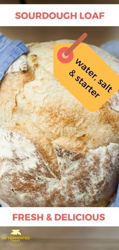Easy homemade sourdough bread including gluten free made with three ingredients: water, salt and sourdough starter. Sourdough Bread Starter, Sourdough Recipes, Bread Recipes, Yeast Bread, Dough Starter Recipe, Starter Recipes, Cooking Bread, Bread Baking, Fermented Foods
