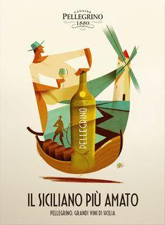"Poster per vini ""Cantine Pellegrino"" Riccardo Guasco 2018 Ag: Magnifico Cocktail Illustration, Graphic Illustration, Book Cover Design, Book Design, Wine Advertising, Cocktails Vector, Hope Art, Wine Poster, Wine Label Design"