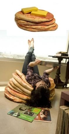 Stacked Pancake Floor Pillows // hehe!