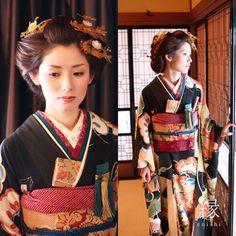 #着物#花嫁#和婚#振袖#アンティーク#アンティーク花嫁衣装#beauty #happy #antique #japan #japanese #wedding #kimono #color #antique #harrystyles #hair ゆるめに結った日本髪アレンジ