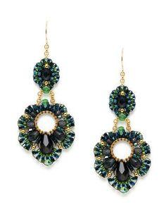 Green Tourmaline & Multicolor Bead Geometric Shape Earrings por Miguel Ases en Gilt