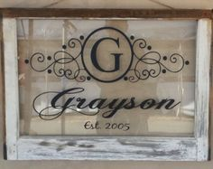 Vintage Single Pane Window Personalized Last Name Family Letter