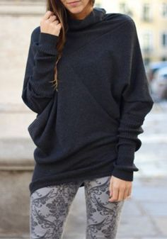 Dark Grey Long Sleeve Batwing Cotton Sweater
