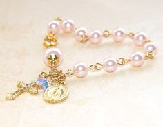 Girl's Pink Crystal Pearl Rosary Bracelet / by onedaysgracenz, $22.00