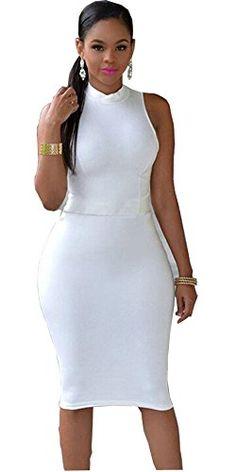 KeyZone Sexy Fashion Comfortable Sleeveless Dresses Women Summer Casual Sleeveless Evening Party Dress M-White