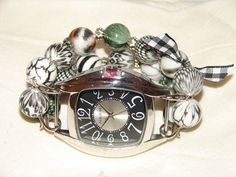 Shabby Chic Black and White Beaded Watch Band and by BeadsnTime, $30.00
