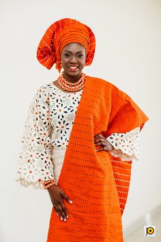 Orange and Champagne Traditional Nigerian Wedding by Jide Odukoya Photography