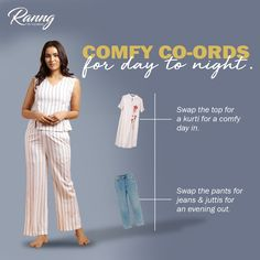 A co-ord set offers so many different possibilities, which is why we love them. For example, this striped set that works whether you want to lounge at home alone or with company, or spend the day window shopping and cafe hopping. Party Wear For Women, Bespoke Design, Online Fashion Stores, Window Shopping, Office Wear, Indian Sarees, Blouse Designs, Kurti, Casual Wear