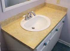 How to Make a Sturdy Contact Paper Counter Top DIY – Bathroom ideas – epo countertop kitchen Bathroom Countertop Storage, Countertop Makeover, Bathroom Countertops, Contact Paper Countertop, Paper Bag Flooring, Wooden Countertops, Luxury Vinyl Tile Flooring, Small Bathroom, Bathroom Ideas
