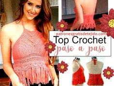 Patrones y tutoriales crochet y dos agujas gratis para descargar Top Tejidos A Crochet, Top Crop Tejido En Crochet, Crochet Tops, Patron Crochet, Bikinis Crochet, Diy And Crafts, Crochet Patterns, Crop Tops, Outfits