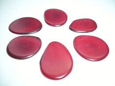 Tagua Nut Thin Slices Red  Medium Size Pkg of  6 by WananBeads