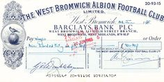 archive cheque old crest insert West Bromwich Albion Fc, Cheque, The Past, Archive