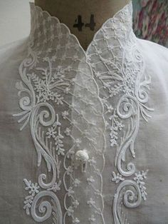 Lacy High-necked White Blouse with Lacy Front Panels ....