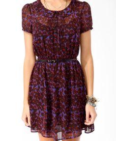 Spotted Floral Print Shirtdress w/ Belt   25