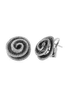 Effy Jewelry Jardin Bloom Black and White Diamond Earrings, 2.45 TCW