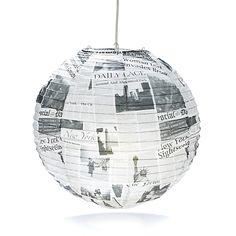 Newspaper Boule japonaise en papier imprimé journaux D40cm
