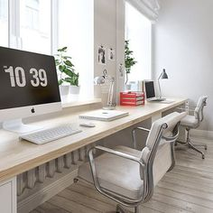 Great home office. Bright and spacious. #interior #furniture #desk #office