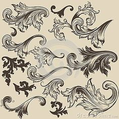 Satz von Vektor swirls im Vintage-Stil für design — Stockillustration Interior Design Vector, Vector Design, Flower Structure, Origami, Book And Frame, Engraving Art, Carving Designs, Ornaments Design, Vintage Stil