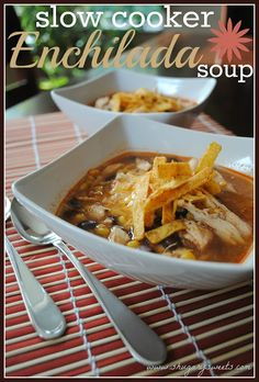 Slow Cooker Chicken Enchilada Soup- delicious and easy! @Shugary Sweets This was sooo good! I did kidney beans instead of pinto and added a can of tomatoes and 4 cups of broth instead of 3. Ah-mazing!