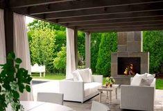 House Beautiful - decks/patios - pergola, pergola ideas, outdoor fireplace, Outdoor living space and covered deck patio! Outdoor Living Rooms, Outdoor Spaces, Outdoor Decor, Outdoor Curtains, Outdoor Lounge, Outdoor Ideas, Pergola Drapes, Privacy Curtains, Patio Privacy