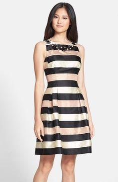 Eliza J Embellished Stripe Fit & Flare Dress (Regular & Petite) available at #Nordstrom