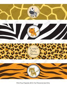 Safari para imprimir bebé ducha agua botella envolturas Safari Party, Safari Jungle, Jungle Party, Safari Theme, Spongebob Birthday Party, Jungle Theme Birthday, Animal Birthday, Dinosaur Birthday, Baby Shower Themes