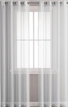 Ruthy's Textile 2 Piece Window Sheer Curtains Grommet Panels X Total X Inch Length for Bedroom/Living Room Color: Light Grey Grommet Curtains, Sheer Curtains, Window Sheers, Interior Decorating, Interior Design, Room Colors, Soft Furnishings, Decoration, Light Colors
