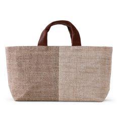 遊 中川/角通小紋 ハンドバッグ 茶 10290yen 小粋を演出する、手織り手紡ぎの麻織物+革のハンドバッグ