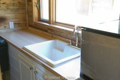 Interestng sink in the Scrappy Tiny House, Tennessee Tiny Homes