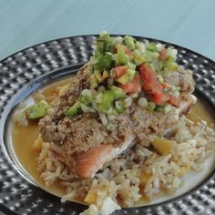 Nutty Crusted Salmon w/Coconut Rum Sauce