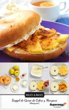 Mezcla 90 g de queso de cabra, 90 g de queso crema y unta con esto 2 piezas de baggel tostado. Corta en rebanadas una manzana verde descorazonada, pásala por jugo de limón y acomoda sobre los baggel. Baña las manzanas con una cucharadita de miel de abeja y espolvorea canela molida.
