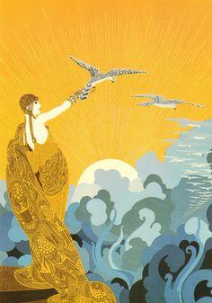 "Chic Original Vintage ERTE Art Deco Print ""WINGS of VICTORY"" Fashion Book Plate"