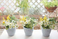 ハンドメイドマーケット minne(ミンネ)| 幸せになれる四葉のクローバー、マトリカリア、ミモザ、ブバリア の寄せ植え風アレンジ