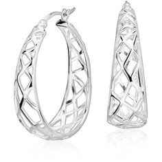 Blue Nile Oval Designed Hoop Earrings (€120) ❤ liked on Polyvore featuring jewelry, earrings, sterling silver jewellery, polish jewelry, blue nile, sterling silver earrings and hoop earrings