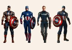 lmnpnch:Captain America (the uniform): The First Avenger vs The Avengers vs The Winter Soldier vs Avengers: Age of Ultron (click for larger) Which one is your favourite?