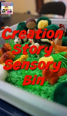 Creation Story Sensory Bin Sunday School sensory play #SundaySchool #kidmin #sensorybin #Biblelesson