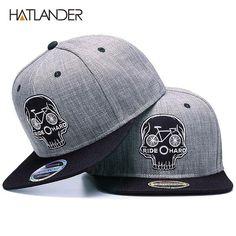 HATLANDER Original Baseball cap men snapback cap brand embroidery SKULL  cool hip hop cap 6 panel bone linen Skeleton sports hats 961ccab114