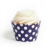 Navy Blue Polka Dots Cupcake Wrappers BULK (12 Wraps)