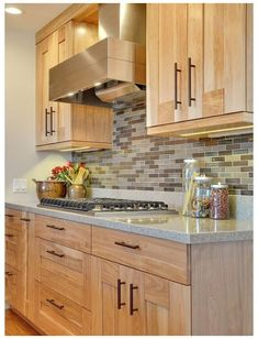 Natural Wood Kitchen Cabinets, Contemporary Kitchen Cabinets, Outdoor Kitchen Countertops, Kitchen Backsplash, Beadboard Backsplash, Backsplash Ideas, Kitchen Ideas With Maple Cabinets, Menards Kitchen Cabinets, Floors Kitchen
